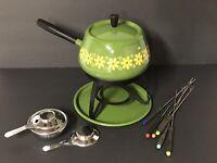 Vtg MOD Fondue Pot Set Flower Power Avocado Green Yellow Japan Retro 70s