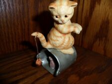 Enesco Kitten Trying To Catch A Mouse While Sitting On A Trash Can