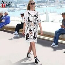 Stella Designer White Black Novelty BATMAN Summer Cotton t shirt dress 12