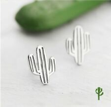 Super Fashion Lovely Cactus Plants 925 Sterling Silver SP Earring Stud