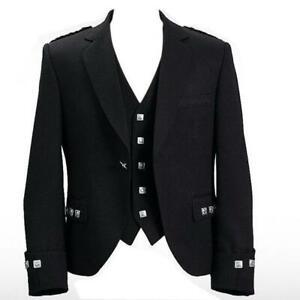 """New Scottish Argyle Kilt Jacket With Waistcoat/Vest - Sizes 36""""- 54"""""""