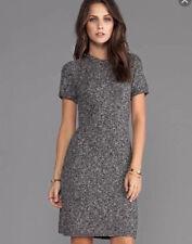 THEORY Sz M Gray Short Sleeve Sweater Cecil B Loryelle Dress Wool/Cotton/Viscose