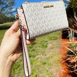 Michael Kors Double Zip Phone Wallet Wristlet Vanilla Signature MK Powder Blush