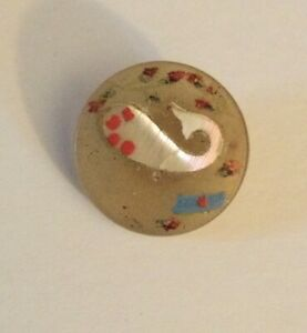 Antique Horn Inlaid Pearl Inlay Paint Paisley Design Old Button Small