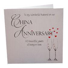 20th China Anniversary Card To a Wonderful Husband Luxury Handmade