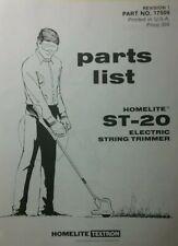 Homelite Lawn Garden 110v Electric String Trimmer St 20 St 40 St 60 Parts Manual