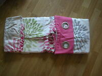 """NEXT PINK BLOOM GREEN NATURAL CURTAINS EYELET LINED ( 135X183CM) 53 X 72"""""""