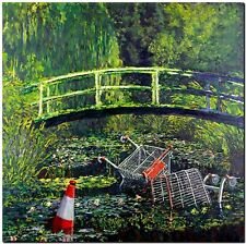 "BANKSY STREET ART CANVAS PRINT Monet Japanese bridge 8""X 10"" stencil poster"