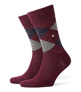 Burlington Edinburgh Socks Men's UK 6.5-11 Grey Blue Dark Red New 8104  21182