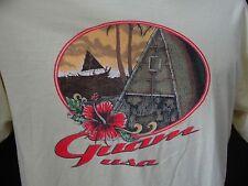 Guam USA T-Shirt Yellow L Short Sleeve Crew Neck Tee Canoe Hut Hibiscus Flower