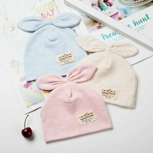 Solid Cotton Newborn Baby Tire Caps With Ear Girls Boys Sun Hats With Bow Gifts