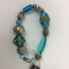 Handmade Bracelet Lampwork Beads Blue Silver Tone Stretch Bangle