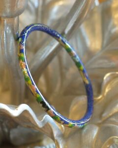 Vintage Cloisonne Blue Enamel Flowers Thin Bangle Bracelet
