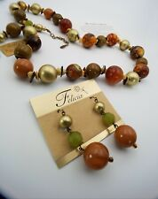 Felicia Goddess Collection Large Bead and Faux Shell Necklace and Earrings Set