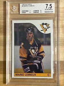 1985 Topps Mario Lemieux Rookie card #9 Nr.MINT+ 7.5 graded Pittsburgh Penguins