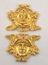 FURNITURE HARDWARE ANGEL ORMOLU PAIR OF FACE & WINGS NEOCLASSICAL DESIGN ART