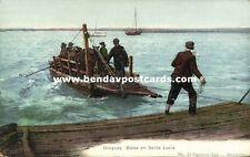 uruguay, Santa Lucia, Balsa, Raft carrying Men and Horses (1899)