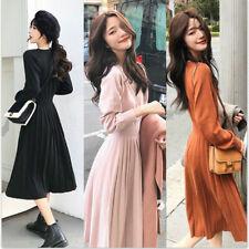 Women's Sweater Dress Korean Knitted Autumn High Waist Pleated Dresses Evening