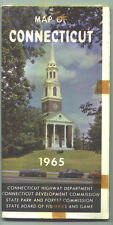 1965 Connecticut State-issued Vintage Road Map