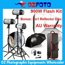 900W Flash Kit Photography Lighting Studio Strobe Light Set 5in1 Reflector Disc