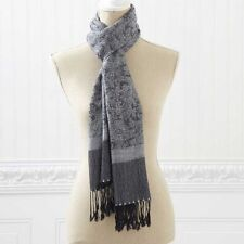 """BLACK/WHITE PASHMINA/SILK SCARF FRINGE 74"""" L WOMENS CLOTHING ACCESSORIES SCARVES"""