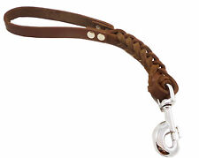 "Genuine Leather Dog Traffic Leash Short 12""  Braided 1""wide XLarge Breeds"