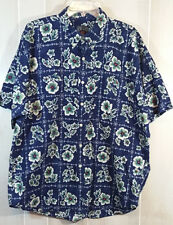 Mens Chaps SSleeve Casual Shirt XL Tropical Print Navy Floral Cotton MS108