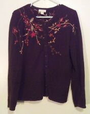 Christopher & Banks Brown Cardigan XL Floral Fall embroidery [c]