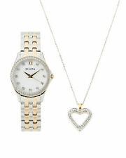 Bulova 98X113 Ladies' Crystal Accent Two-Tone Watch with Mother-of-Pearl Dial and Heart Pendant Box Set