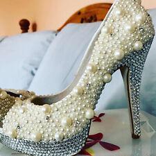 Zapatos de tacón alto, Boda, Diamanté, Perlas, Fiesta