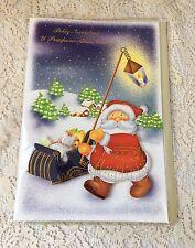 Spanish Christmas Card Feliz navidad y Prospero ano Nuevo Santa Claus Sled Snow