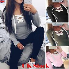 Womens Lace Up Hoodie Sweater Tops Ladies Sweatshirt Pullover Jumper Top Blouse