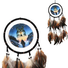 New Handmade Dream Catcher With Feathers Beads Wall Hanging Decor Ornament -Wolf