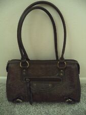 Must Have Unmarked Brown Floral Embossed Faux Leather Satchel Bag Purse Handbag