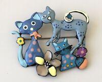 Unique three  Cats brooch pin enamel on metal