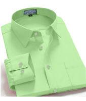 Men's Regular Fit Long Sleeve Solid Color One Pocket Casual Dress Shirt Mint