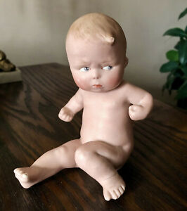 """Antique 1920s HEUBACH Germany Bisque """"Naughty Boy"""" #2 Piano Baby Clenched Fists"""