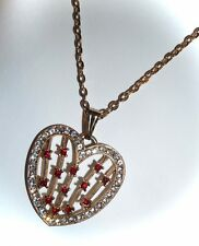 "FILIGREE HEART PENDANT NECKLACE w/CLEAR & RUBY RED RHINESTONES - 18"" CHAIN"