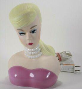 Barbie Lamp Enesco 1994 Mattel Porcelain Night Light Bust Vintage Rare