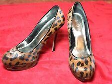 "Womens Bakers Melinaleop Leopard Print Size 10M 5"" High Heel Shoes"