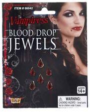Blood Drops Jewels Vampiress Stick on Red Gems Stone Halloween Costume Accessory