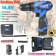 Cordless Drill Driver Combo Set 16.8V with Battery & Charger + 29pc Bits + Case