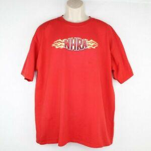 NHRA Championship Drag Racing Autograph T Shirt Size XL Lightning Bolts Red