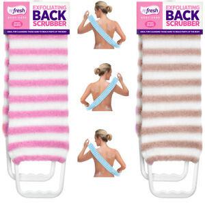 Exfoliating Back Scrubber Loofah Nylon Body Sponge Skin Bath Shower Cloth Towel