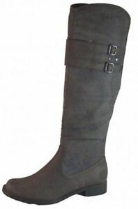 Brown Faux Leather Ladies Knee High Flat Boots Buckles NEW Reduced RRP £45