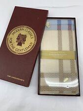 True Vintage Deadstock NEW IN Box 3 Pack 100% Cotton Striped Mens Handkerchiefs