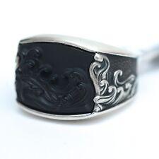 New DAVID YURMAN Men's Waves 3 Sided Ring Sterling Silver Black Onyx 9.75 $650