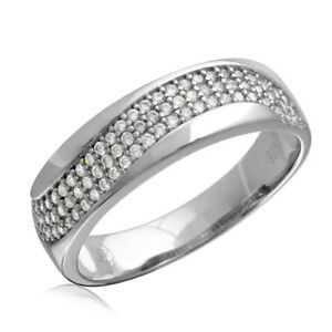 Men's Sterling Silver Wave CZ Stones Wedding Band Ring