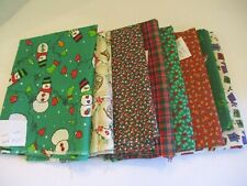 New listing Vintage Xmas Lot Cotton Fabric Pieces for Quilts, Crafts, Doll Clothes