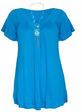 Ladies Necklace Frill Gypsy Tunic Short Sleeve  V Neck Plus Size Baggy Top Dress